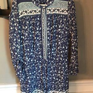 Long sleeve floral romper shorts
